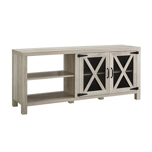 Industrial Farmhouse TV Stand for TV's up to 64 inch - White Oak