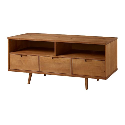 3-Drawer Mid Century Modern TV Stand for TV's up to 64 inch- Caramel