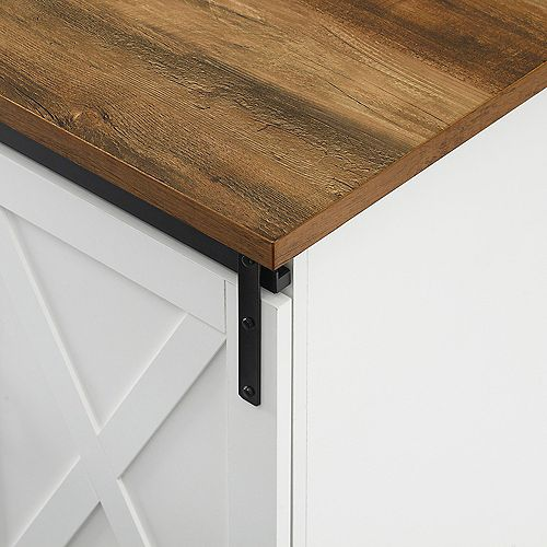 Modern Farmhouse TV Stand for TV's up to 64 inch- White/Reclaimed Barnwood