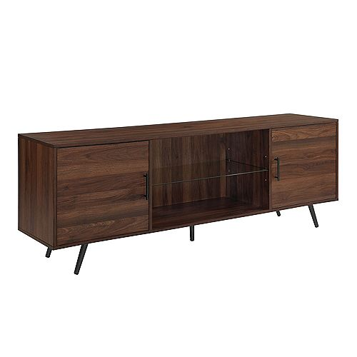 Mid Century Modern TV Stand for TV's up to 78 inch- Dark Walnut
