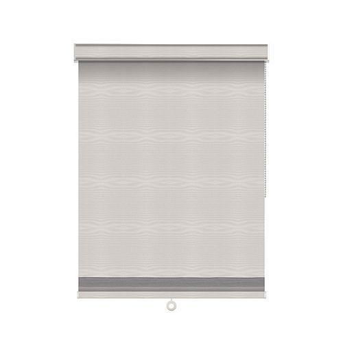 Sun Glow Blackout Roller Shade with Herringbone Trim - Chain Operated with Valance - 58.25-inch X 60-inch in Ice