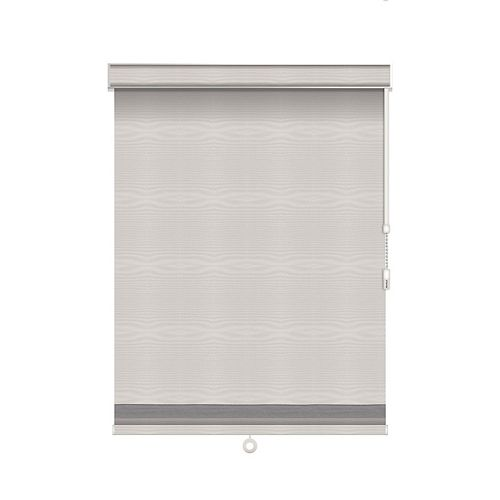 Sun Glow Blackout Roller Shade with Herringbone Trim - Chain Operated with Valance - 43-inch X 84-inch in Ice