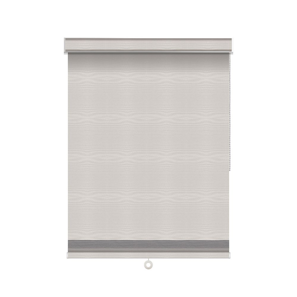 Sun Glow Blackout Roller Shade with Herringbone Trim - Chain Operated with Valance - 47-inch X 84-inch in Ice
