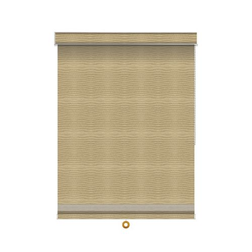 Sun Glow Blackout Roller Shade with Herringbone Trim - Chain Operated with Valance - 34.5-inch X 84-inch in Champagne