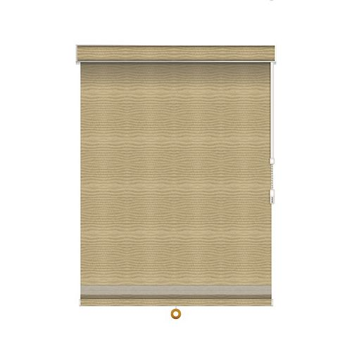 Sun Glow Blackout Roller Shade with Herringbone Trim - Chain Operated with Valance - 43.25-inch X 84-inch in Champagne