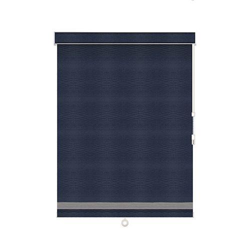 Sun Glow Toiles à Rouleau Opaque avec Garniture à Chevrons - À Chaîne avec Cantonnière - 36.75-po X 36-po en Marine