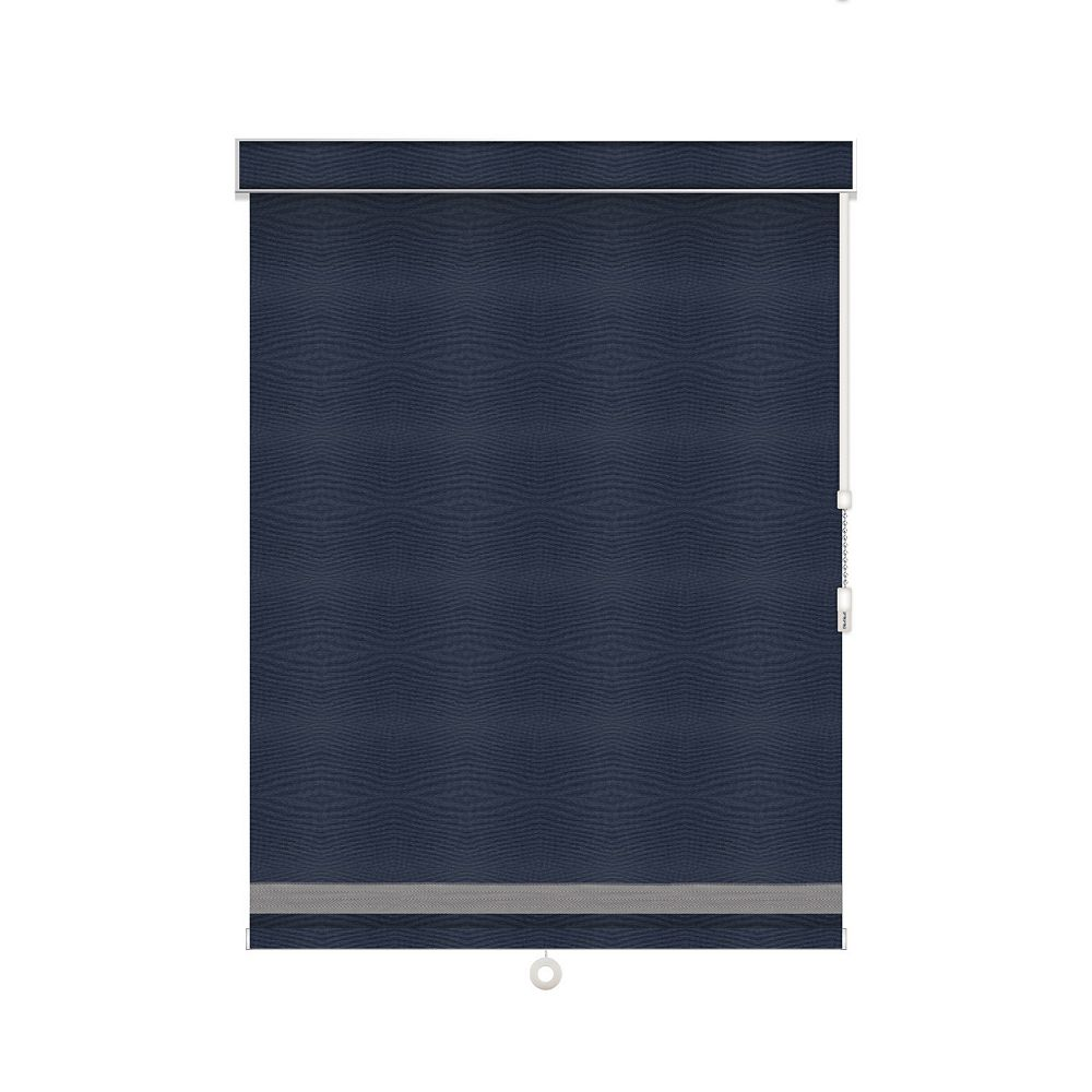 Sun Glow Blackout Roller Shade with Herringbone Trim - Chain Operated with Valance - 26.75-inch X 84-inch in Navy