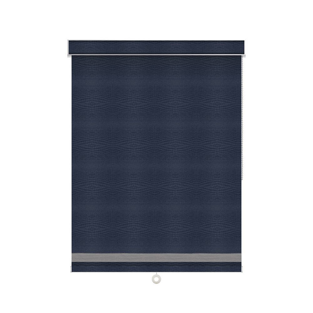 Sun Glow Blackout Roller Shade with Herringbone Trim - Chain Operated with Valance - 29.5-inch X 84-inch in Navy