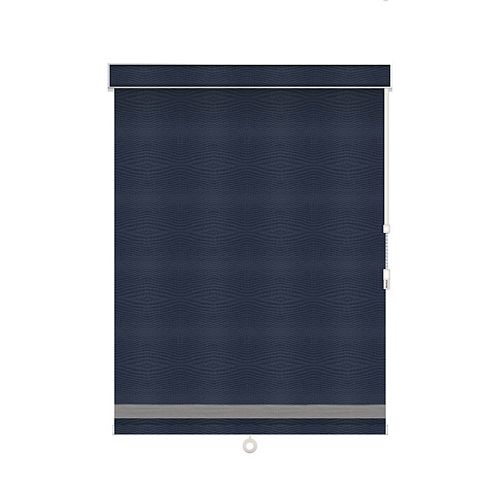 Sun Glow Blackout Roller Shade with Herringbone Trim - Chain Operated with Valance - 31.75-inch X 84-inch in Navy