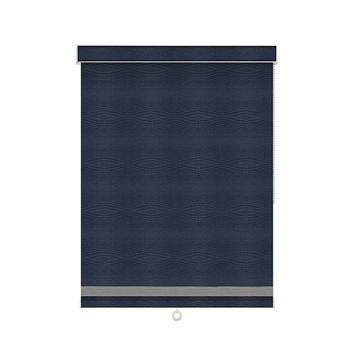 Sun Glow Blackout Roller Shade with Herringbone Trim - Chain Operated with Valance - 57.5-inch X 84-inch in Navy