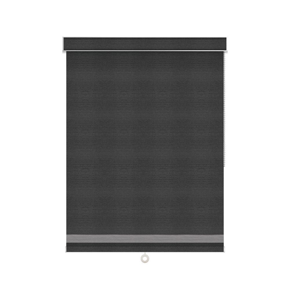 Sun Glow Blackout Roller Shade with Herringbone Trim - Chain Operated with Valance - 25.25-inch X 36-inch in Denim
