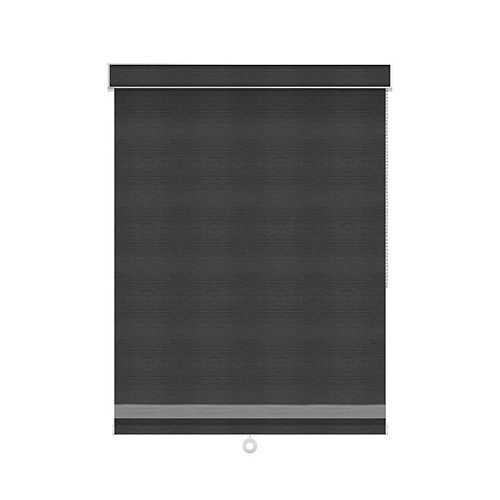 Sun Glow Blackout Roller Shade with Herringbone Trim - Chain Operated with Valance - 25.25-inch X 84-inch in Denim