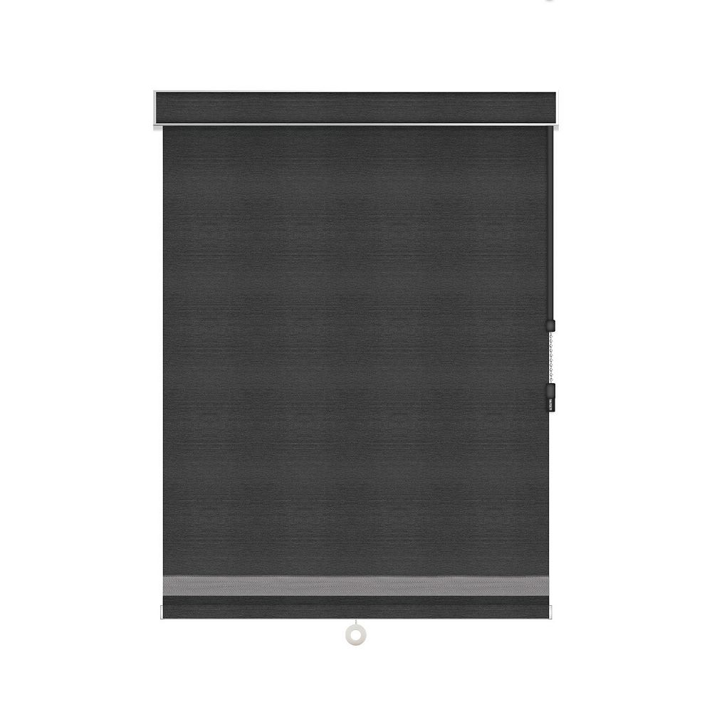 Sun Glow Blackout Roller Shade with Herringbone Trim - Chain Operated with Valance - 54-inch X 84-inch in Denim