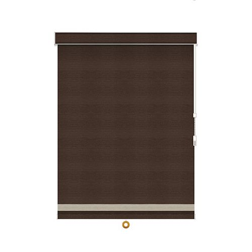 Sun Glow Blackout Roller Shade with Herringbone Trim - Chain Operated with Valance - 33.25-inch X 36-inch in Cinder