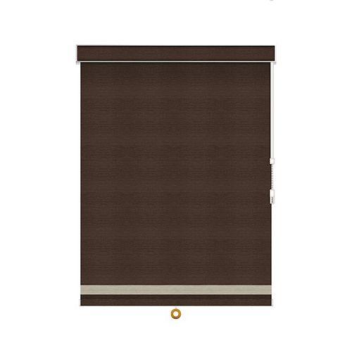 Sun Glow Toiles à Rouleau Opaque avec Garniture à Chevrons - À Chaîne avec Cantonnière - 60.75-po X 36-po en Cendre