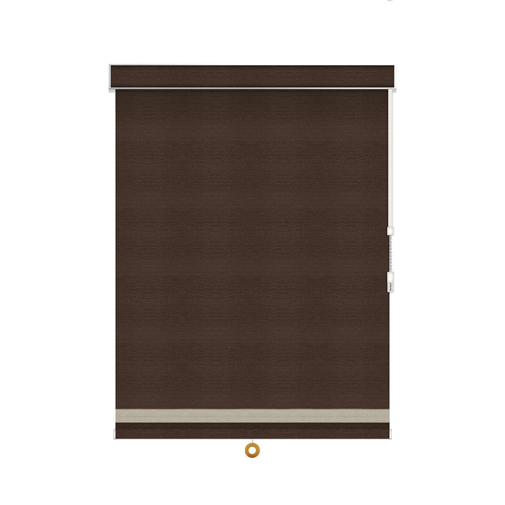 Sun Glow Blackout Roller Shade with Herringbone Trim - Chain Operated with Valance - 26-inch X 60-inch in Cinder