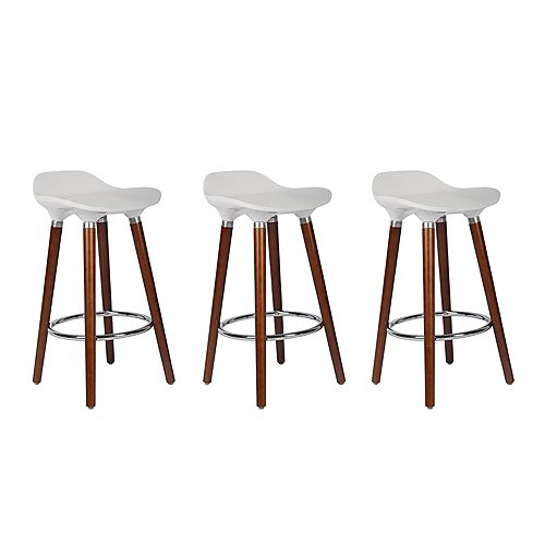 ABS Bar Stool 26-inch Height with Wooden Walnut Legs, Backless - White - 3 Unit
