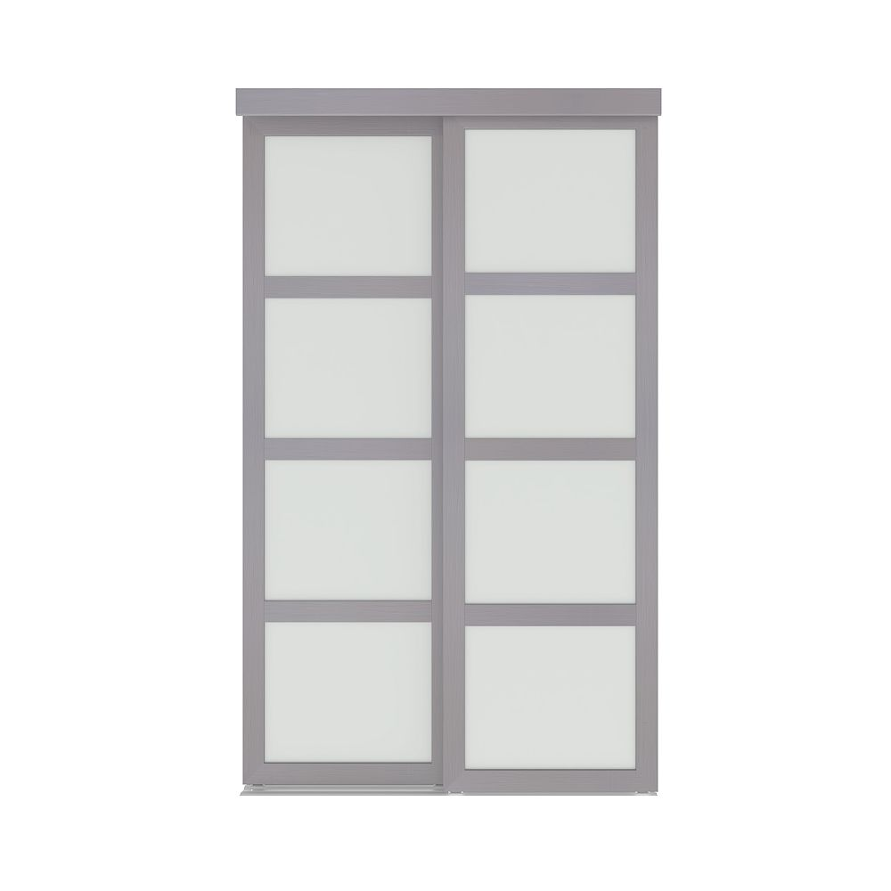 Colonial Elegance 48-inch x 80.5-inch Interior Sliding Closet Door with Frost Vision Plus Steel Grey Finish