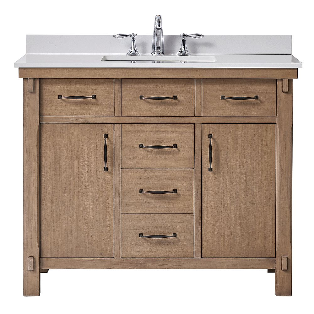 Home Decorators Collection Bellington 42 Inch W X 22 Inch D Vanity In Almond Toffee With M The Home Depot Canada
