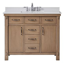 Bellington 42-inch W x 22-inch D Vanity in Almond Toffee with Marble Vanity Top in White with White Sink
