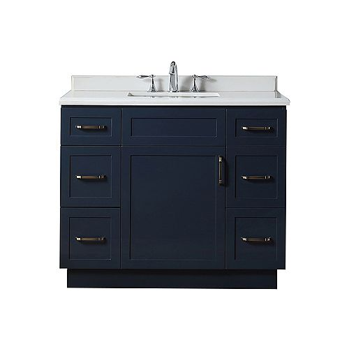 Lincoln 42-inch W x 22-inch D x 34.5-inch H Vanity in Midnight Blue with Cultured Stone Vanity Top in White with White Sink