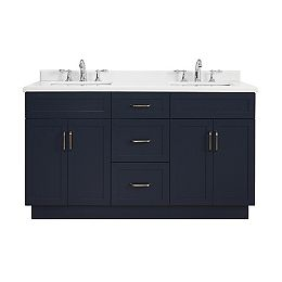 Lincoln 60-inch W x 22-inch D Vanity in Midnight Blue with Marble Vanity Top in White with White Sink
