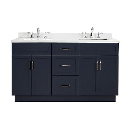 Meuble-lavabo avec armoire Lincoln de 152,4 cm (60 po) de la collection Home Decorators, bleu de minuit