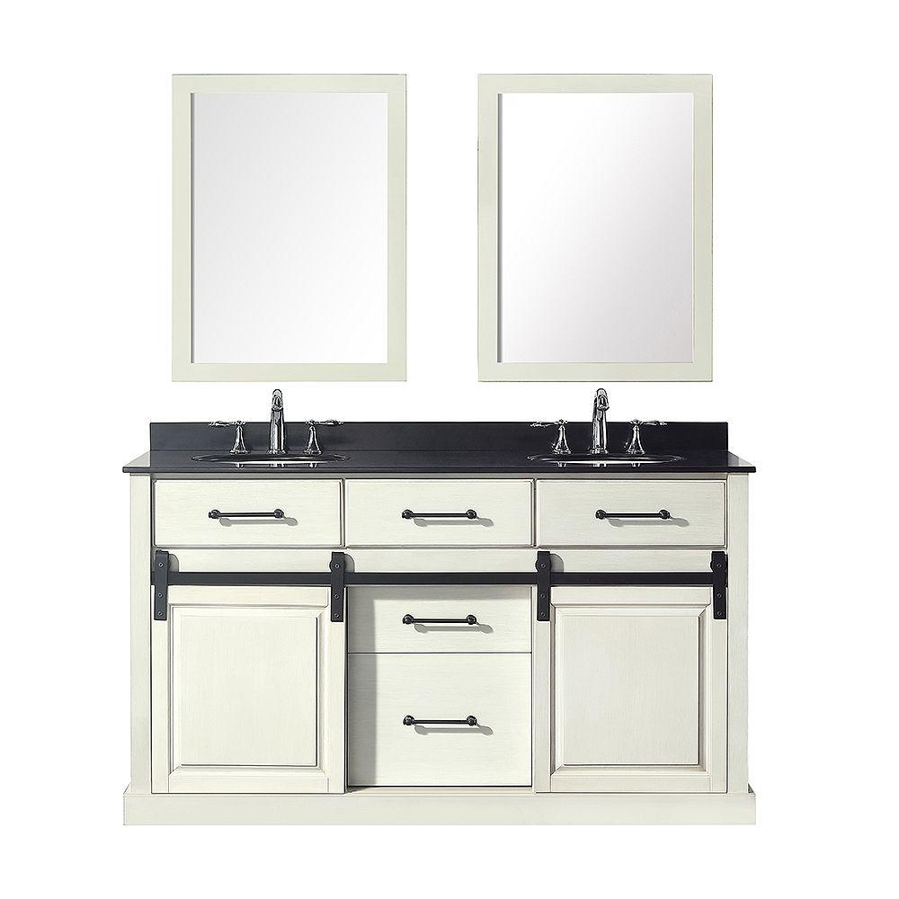 Merceza 20 inch Double Vanity in Antique White with Black Granite Top