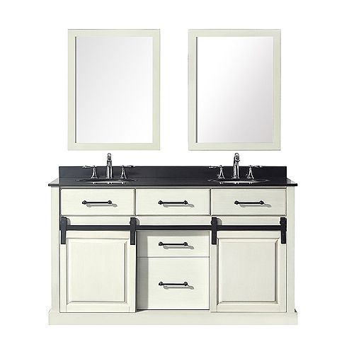 Home Decorators Collection Merceza 60-inch Double Vanity in Antique White with Black Granite Top
