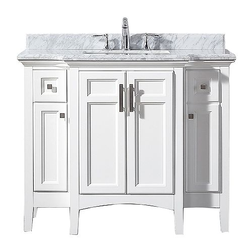 Home Decorators Collection Sassy 42-inch W x 22-inch D Vanity in White with Marble Vanity Top in White with White Sink