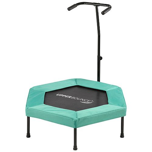 Upper Bounce 40 inch Hexagonal Fitness Mini-Trampoline - T-Shaped Adjustable Hand Rail-Green