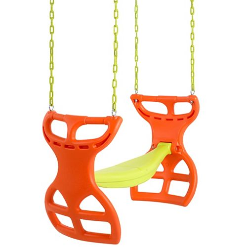 Swingan 2 Seater Glider Swing-Vinyl Coated Chain-Hardware For Installation Included-Orange/Yellow