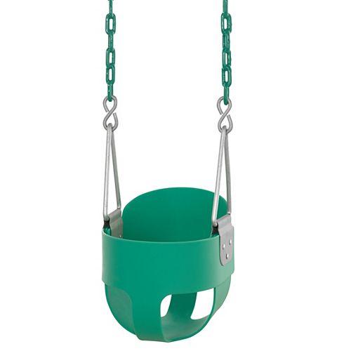 High Back, Full Bucket Toddler & Baby Swing - Vinyl Coated Chain- Fully Assembled - Green