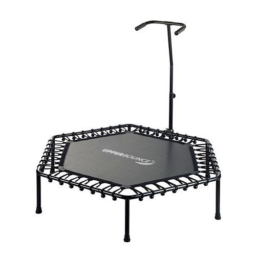 50 inch Hexagonal Fitness Mini-Trampoline - T-Shaped Adjustable Hand Rail-Black