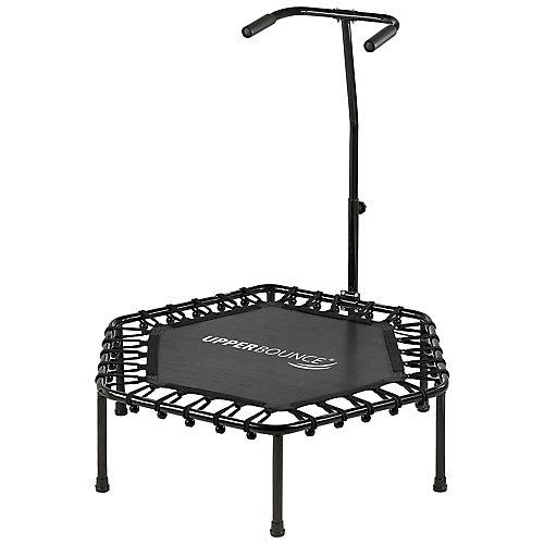 40 inch Hexagonal Fitness Mini-Trampoline - T-Shaped Adjustable Hand Rail