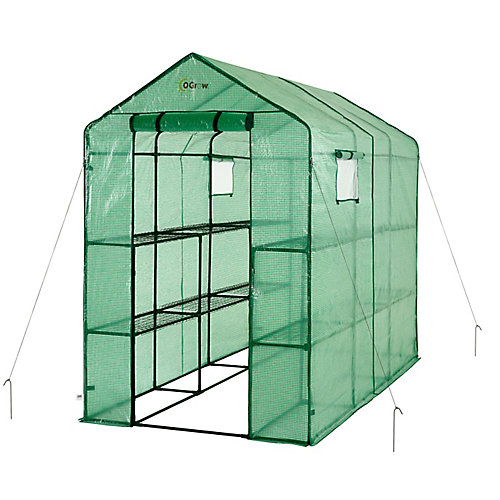Extra Large Heavy Duty WALK-IN 2 Tier 12 Shelf Portable Lawn and Garden Greenhouse