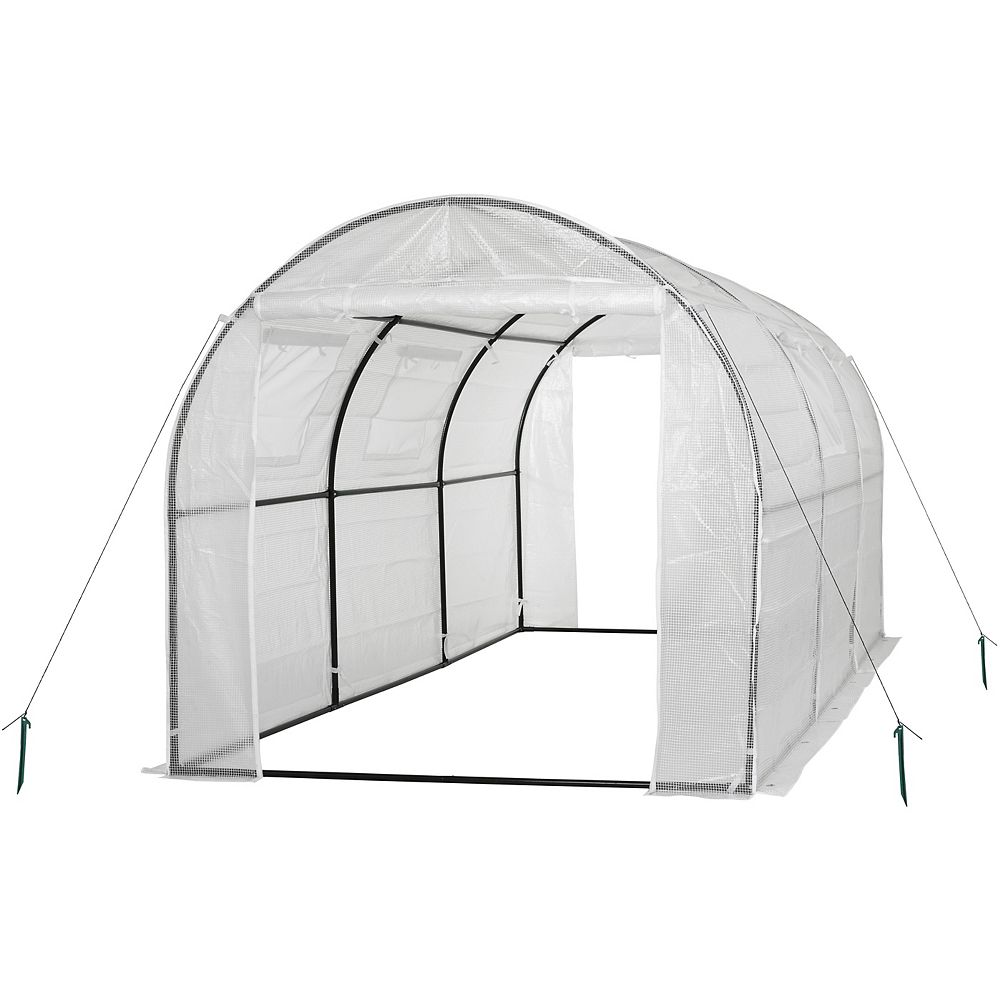 Ogrow Two-Door Walk-In Tunnel Greenhouse With Ventilation Windows And Steel Frame in White