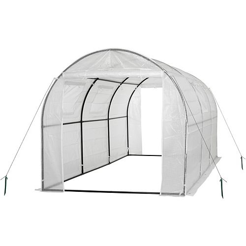 Two-Door Walk-In Tunnel Greenhouse With Ventilation Windows And Steel Frame in White