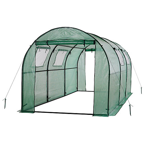 Two Door Walk-In Tunnel Greenhouse With Ventilation Windows And Steel Frame-Green