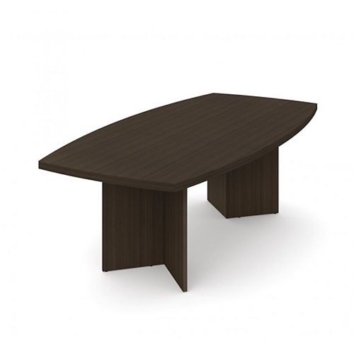 Boat-Shaped conference table with 1 3/4 inch melamine top in Dark Chocolate
