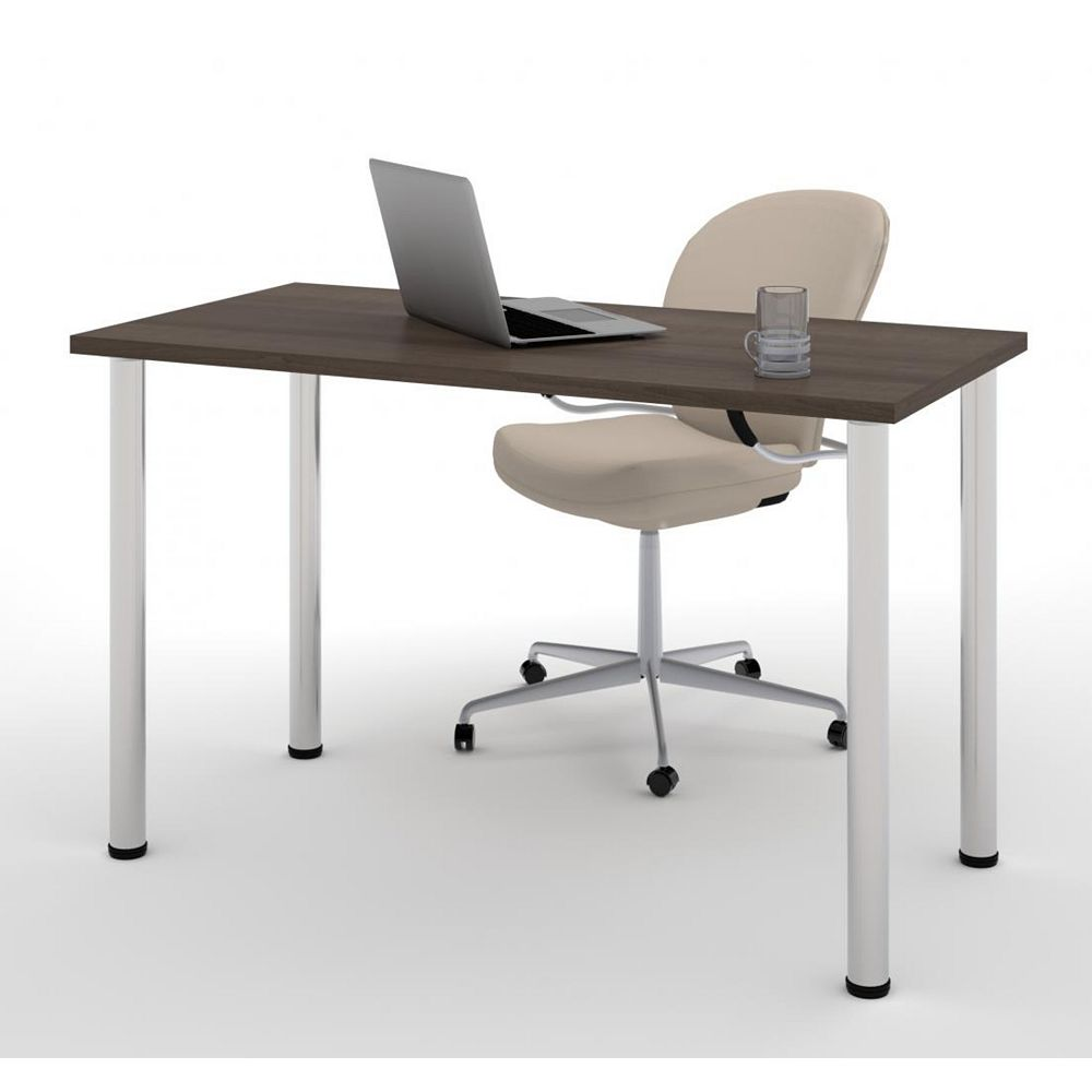 Bestar 24 inch x 48 inch Table with round metal legs in Antigua