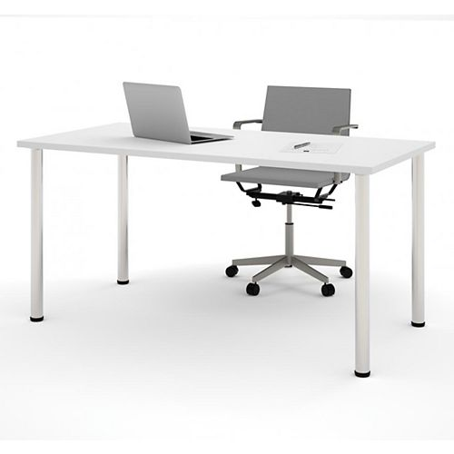 30 inch x 60 inch Table with round metal legs in White