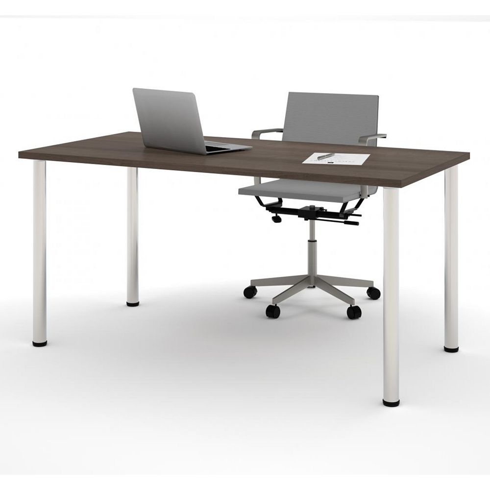Bestar 30 inch x 60 inch Table with round metal legs in Antigua