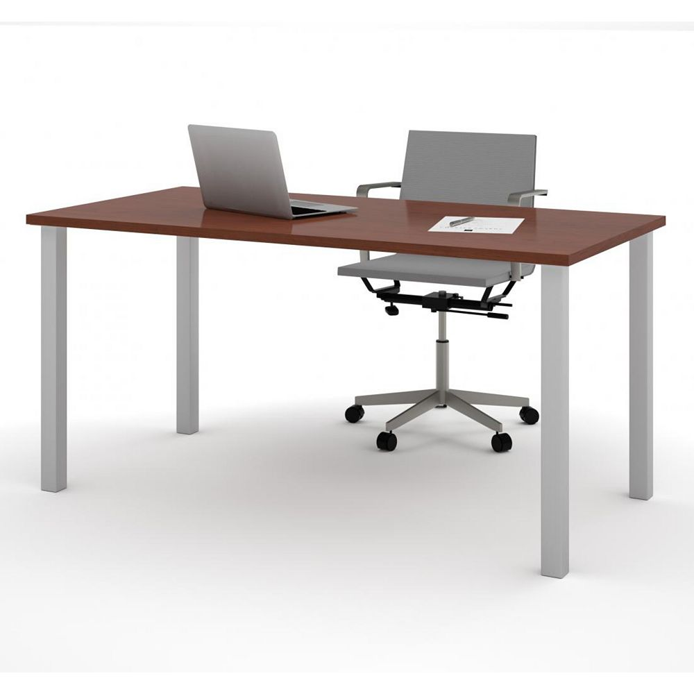 Bestar 30 inch x 60 inch Table with square metal legs in Bordeaux