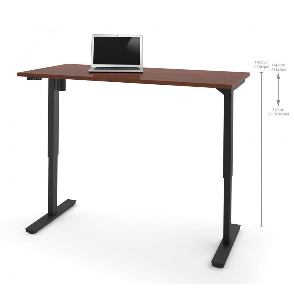 Bestar 30 inch x 60 inch Electric Height adjustable table in Bordeaux