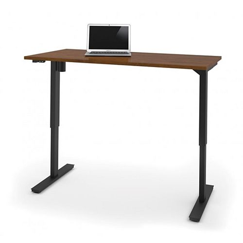 30 inch x 60 inch Electric Height adjustable table in Tuscany Brown