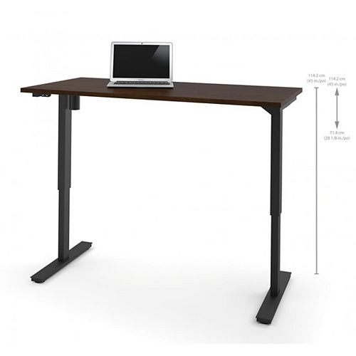 30 inch x 60 inch Electric Height adjustable table in Chocolate