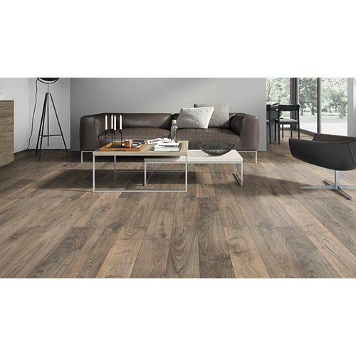 Canadian Walnut 12 mm Thick x 6.3-inch Wide x 50.63-inch Length Laminate Flooring  (17.72 sq. ft. / case)