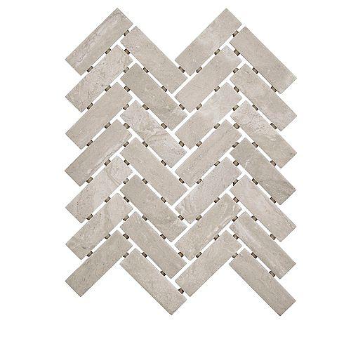 Carreau de mosaïque de style chevrons Silverlake, 9po x 12po x 6mm, céramique, 0,60pi2/pièce