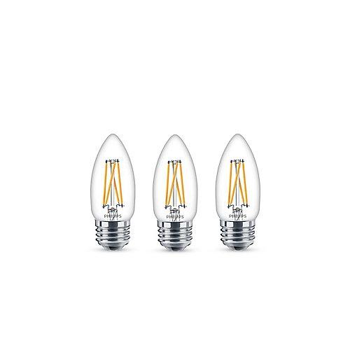 60W Equivalent Soft White Warmglow Chandelier MedBase CRI90 LED Light Bulb (3-Pack)